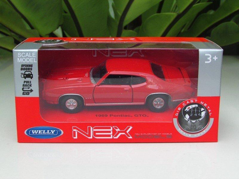Welly NEX 1-38 (11cm) Die cast 1969 Pontiac GTO Classics Car RED