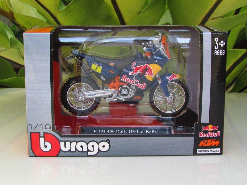 Bburago 1/18 Diecast Motorcycle KTM 450 Rally (Dakar Raiiy) Red Bull #1