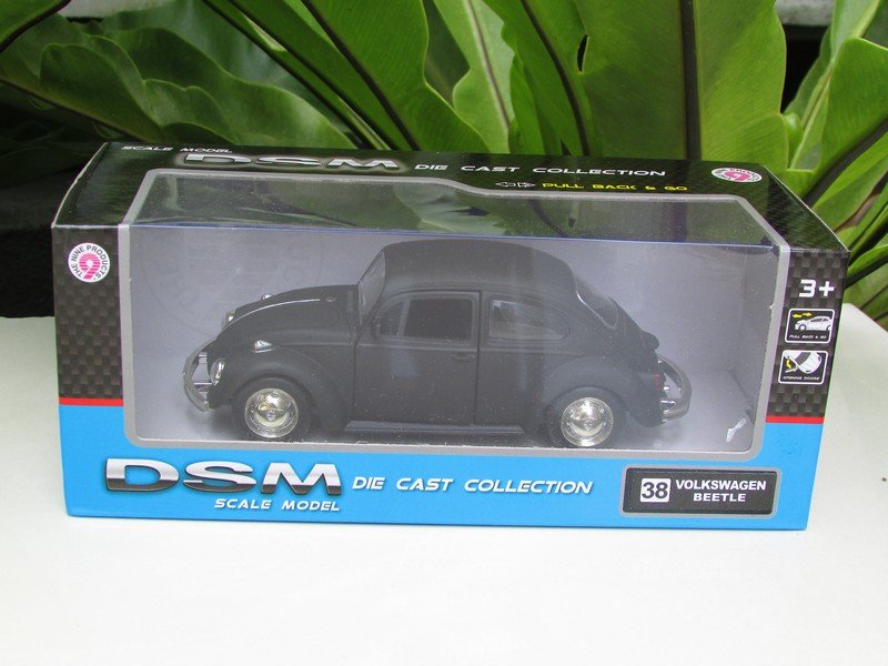 "RMZ / DSM 5"" Die cast Model #38 Volkswagen VW Beetle Matt Black Classics Car"