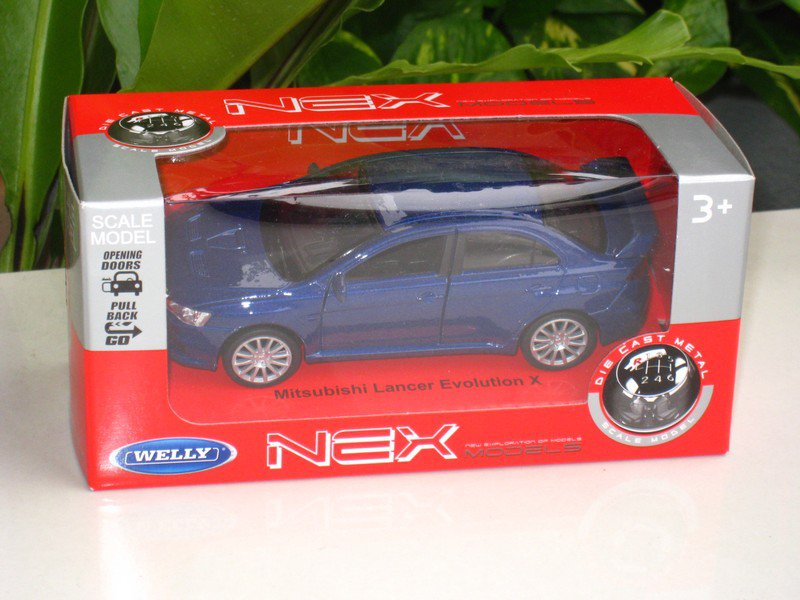 Welly NEX (11cm) 1/34-1/39 Die cast Car Mitsubishi Lancer Evolution EVO X (Blue)