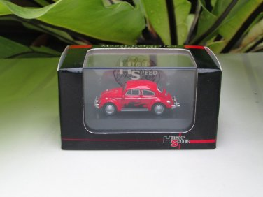 High Speed 1/87 Diecast Model Car VW Volkswagen Kafer Beetle RED With BLACK FLAME