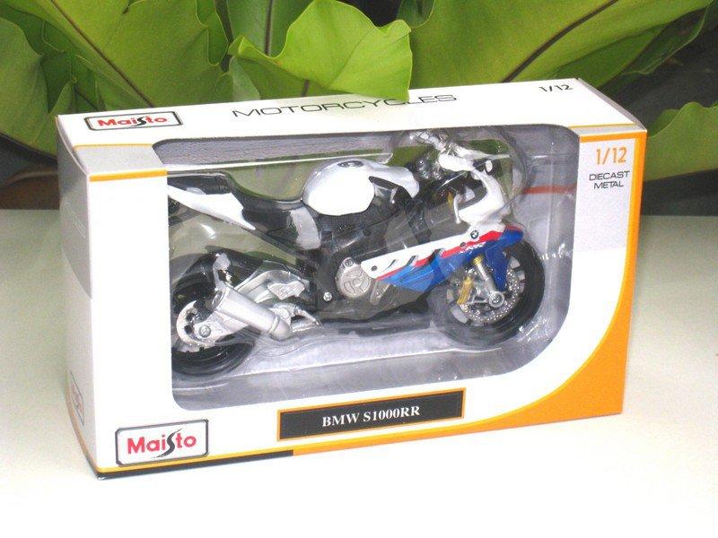 Maisto 1/12 Diecast Motorcycle 2010 BMW S1000RR (White/Blue) Superbike