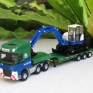 Kaidiwei 1/40  Die cast Construction Vehicle  Low Loader With Excavator (Green/Blue)27cm