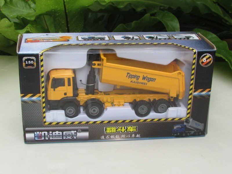 Kaidiwei (KDW) 1/50 Diecast Construction Vehicle Lorry Tipping Truck Yellow (17cm)