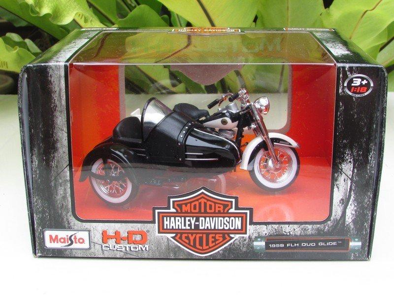 Maisto 1/18 Diecast Harley- Davidson 1958 FLH DUO GLIDE Black/White(Sidecar)11cm