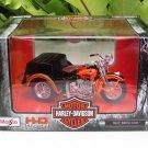 Maisto 1/18 Die cast Harley- Davidson 1947 SERVI-CAR Orange (Sidecar)13cm