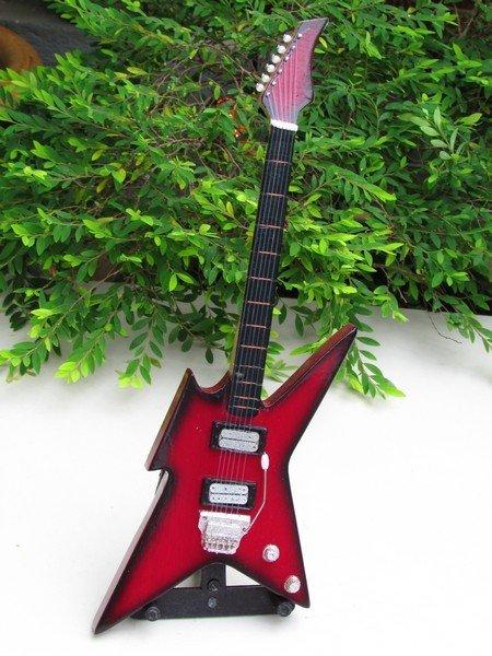 Handicraft Wooden Toy Miniature Instruments IRON BIRD Guitar Dark Red (24cm)
