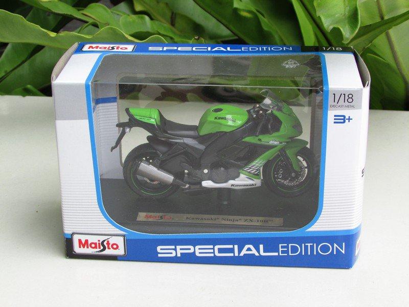 Maisto 1/18 Special Edition Diecast Motorcycle Kawasaki Ninja ZX 10R Green 2010