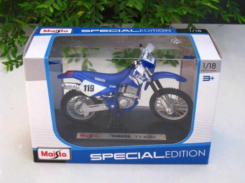 Maisto 1/18 Special Edition Diecast Motorcycle Motocross Bike Yamaha TTR250 #119 (Blue)