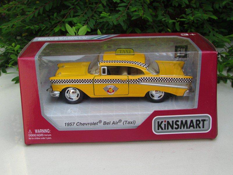 "Kinsmart (5"")Die cast TAXI 1957 Chevrolet Bel Air Chevy Yellow Taxi Classics Car"