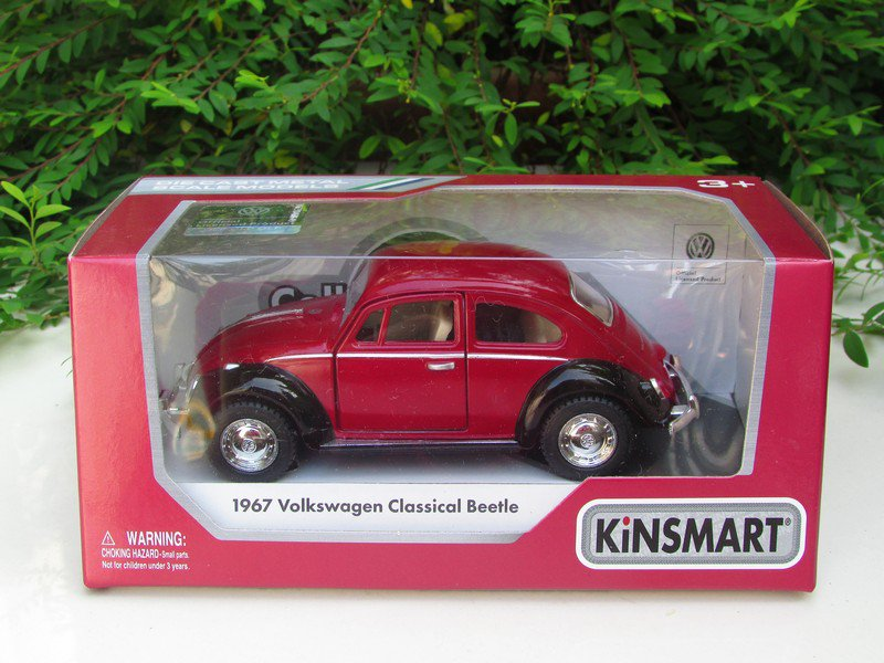 "Kinsmart (5"") Die cast 1967 VW Volkswagen Classical Beetle Red Classical Car"