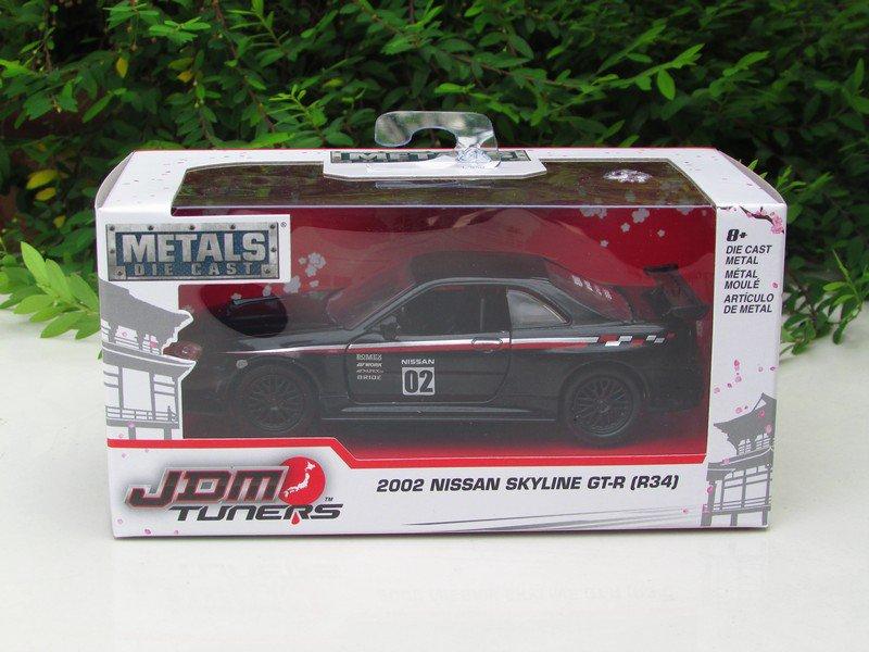 JADA 1/32 Diecast Car JDM Tuners 2002 Nissan Skyline GT-R (R34) BLACK