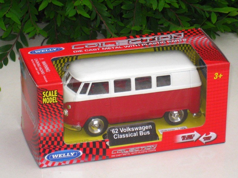 Welly (11cm) Diecast Car VW Volkswagen T1 SAMBA Bus 1962 Red Classics Bus
