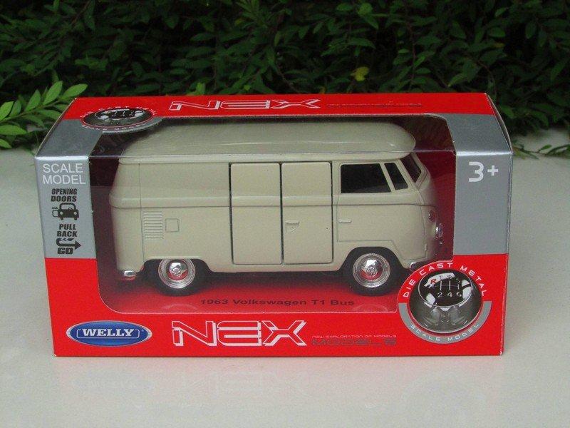Welly NEX (11cm) Diecast Car VW Volkswagen T1 SAMBA Bus 1963 BEIGE Classics Bus