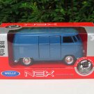 Welly NEX (11cm) Diecast Car VW Volkswagen T1 SAMBA Bus 1963 Blue Classics Bus