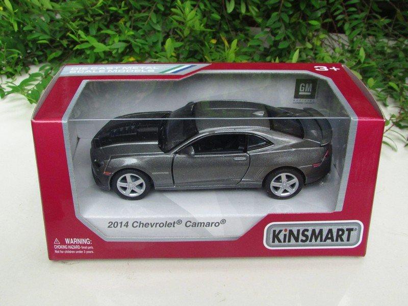 "Kinsmart (5"") Die cast  Car 2014 Chevrolet Camaro w/ printing Gray Sports Car (1/38)"