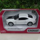 "Kinsmart (5"") Die cast  Car 2014 Chevrolet Camaro w/ printing White Sports Car (1/38)"