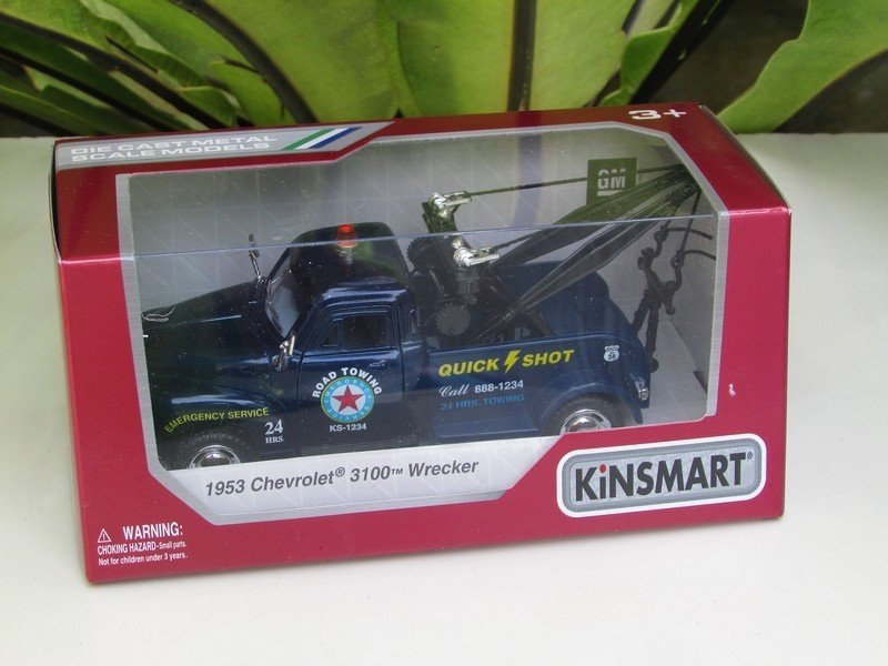"Kinsmart (5"") Die cast  Car 1953 Chevrolet 3100 Wrecker Tow Truck Blue (1/38)"