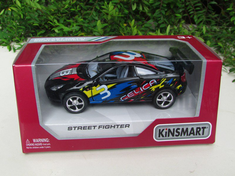 "Kinsmart (5"")Street Fighter Die cast Car Toyota Celica GT Black Sports Car 2002"