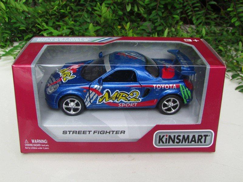 "Kinsmart (5"")Street Fighter Die cast Car Toyota MR2 Blue Sports Car 2002"