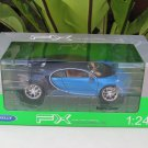 Welly 1/24 Diecast Car BUGATTI CHIRON Blue Sport Car