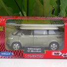 Welly (11cm) Die cast Car VW Volkswagen Microbus 2001 Green Gray (1/38)