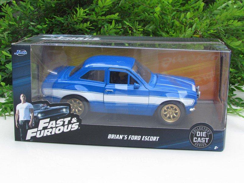 JADA 1/24 Car Fast & Furious 6 Brian's O'Connor FORD ESCORT RS2000 MK1 Blue 1974