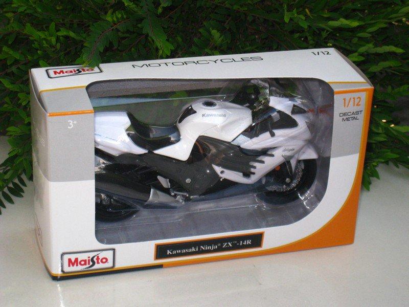 Maisto 1/12 Diecast Motorcycle Kawasaki Ninja ZX-14R 2012 White Sports Bike