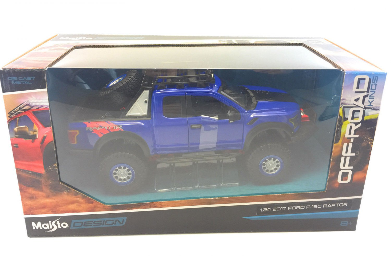 Maisto 1/24 Design Diecast Car Off-Road 2017 Ford F150 Raptor Pickup Truck Blue