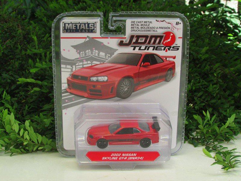 JADA 1/64 Diecast Car JDM Tuners 2002 Nissan Skyline GT-R GTR (R34) Red (8cm)