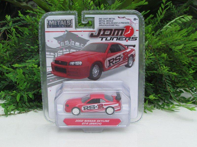 JADA 1/64 Diecast Car JDM Tuners 2002 Nissan Skyline GT-R GTR (BNR34) Red 8cm