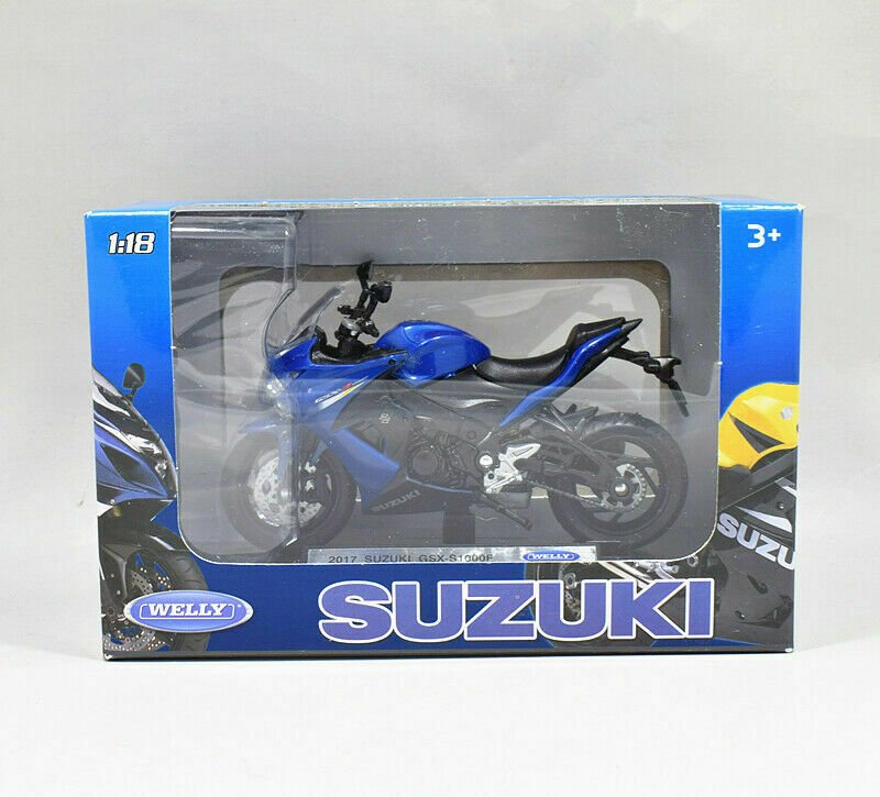 Welly 1/18 Diecast Motorcycle SUZUKI GSX-S1000F 2017 Sports Bike (Blue)