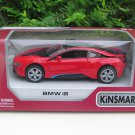 "Kinsmart (5"") Die cast Model Car  Bmw i8 2 Doors Coupe 2018 Red  (1-36)"