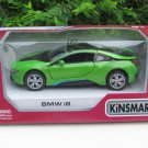 """Kinsmart (5"""") Die cast Model Car  Bmw i8 2 Doors Coupe 2018 Green (1-36)"""
