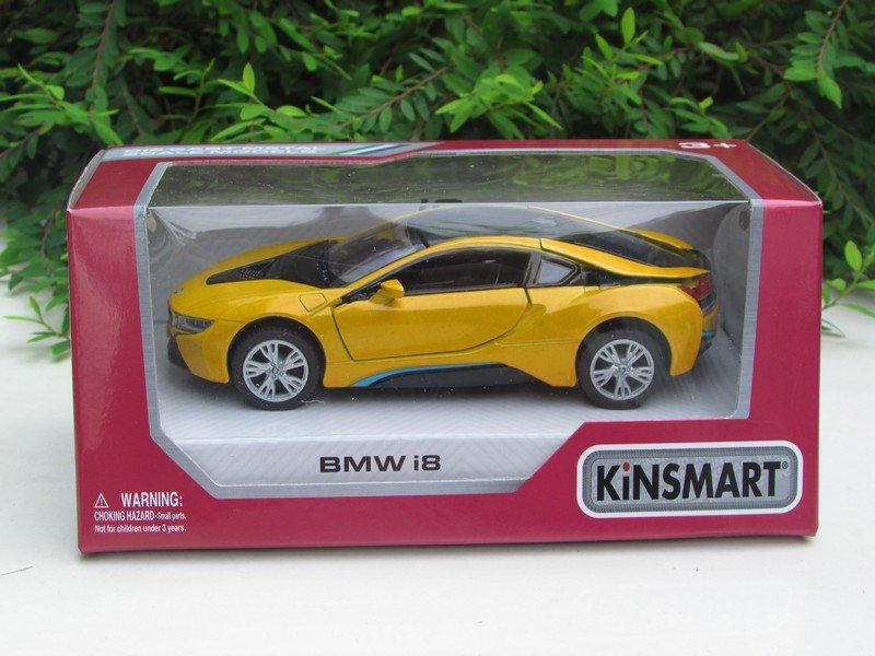 "Kinsmart (5"") Die cast Model Car  Bmw i8 2 Doors Coupe 2018 Yellow (1-36)"