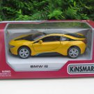 "Kinsmart (5"") Die cast Model Car  Bmw i8 2 Doors Coupe 2018 Yellow (1-36)"