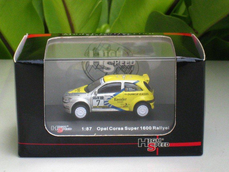 High Speed 1/87 Diecast Opel Corsa Super 1600 Rallye #7 Opel Durkop Kassel 4.5cm