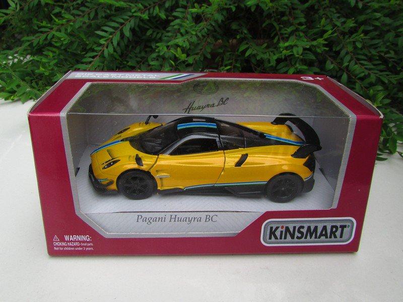 """Kinsmart (5"""") Die cast Car 2016 Pagani Huayra BC (1/38) Yellow Supercar"""