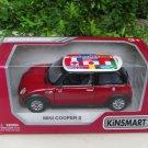 "Kinsmart (5"") Diecast Model Car Mini Cooper S w/ International flag printing 2002 Red"