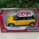"Kinsmart (5"") Diecast Model Car Mini Cooper S w/ International flag printing 2002 Yellow"