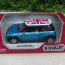 "Kinsmart (5"") 1/28 Die cast Car Mini Cooper S w/ UK flag printing 2002 Blue"