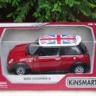 "Kinsmart (5"") 1/28 Die cast Car Mini Cooper S w/ UK flag printing 2002 Red"