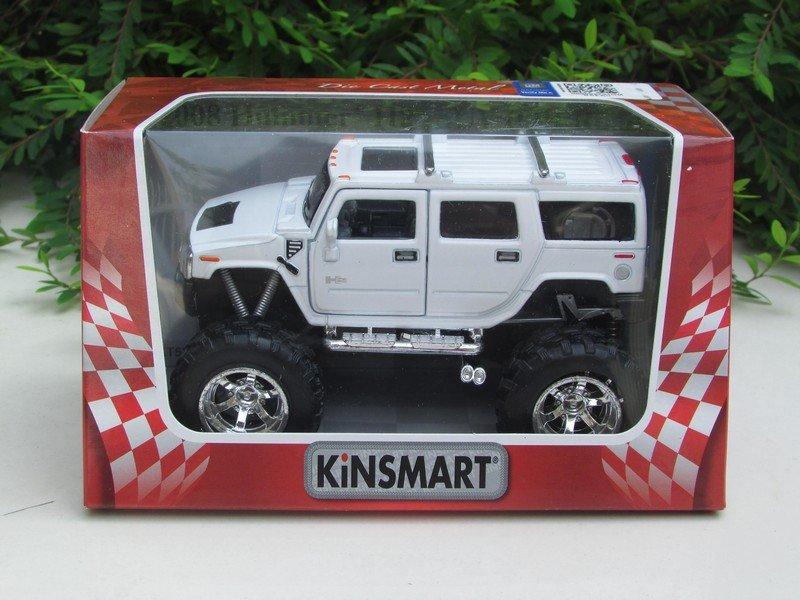 """Kinsmart (5"""") Diecast Monster Truck 2008 Hummer H2 Sun 4x4 Trucks White (1/40)"""