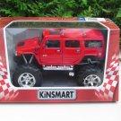 """Kinsmart (5"""") Diecast Monster Truck 2008 Hummer H2 Sun 4x4 Trucks Red (1/40)"""