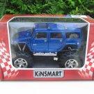 "Kinsmart (5"") Diecast Monster Truck 2008 Hummer H2 Sun 4x4 Trucks Blue (1/40)"