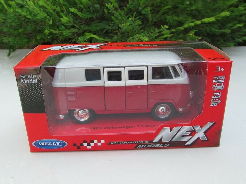 Welly (11cm) Diecast Car Model VW Volkswagen T1 SAMBA Bus 1963 Red Classics Bus