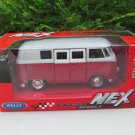 Welly (11cm) Diecast Car Model VW Volkswagen T1 SAMBA Bus 1963 Red Classics Bus