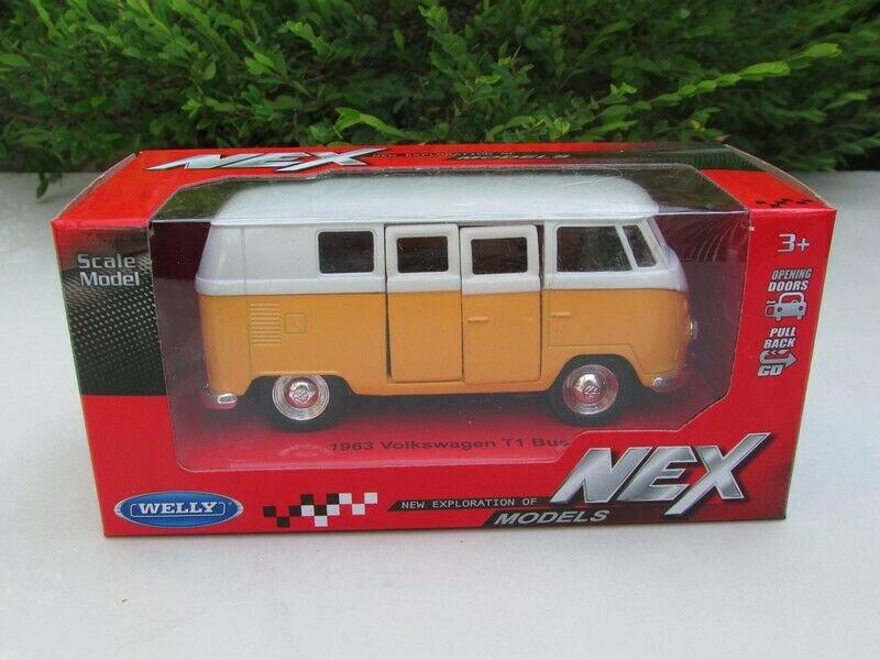 Welly (11cm) Diecast Car Model VW Volkswagen T1 SAMBA Bus 1963 Yellow Classics Bus
