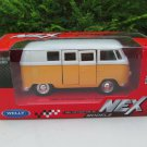 Welly (11cm) Diecast Car Model VW Volkswagen T1 SAMBA Bus 1963 Yellow Classics Bus