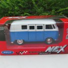 Welly (11cm) Diecast Car Model VW Volkswagen T1 SAMBA Bus 1963 Blue Classics Bus